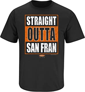 Smack Apparel San Francisco Baseball Fans. Straight Outta San Fran. Black T Shirt (Sm-5X)