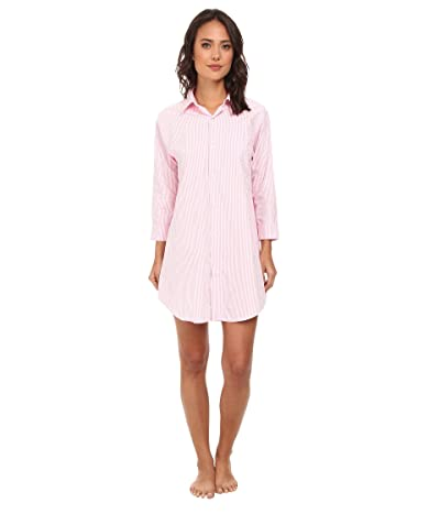LAUREN Ralph Lauren Essentials Striped His Shirt (Carissa Bengal Stripe Pink Hyacinth/White) Women