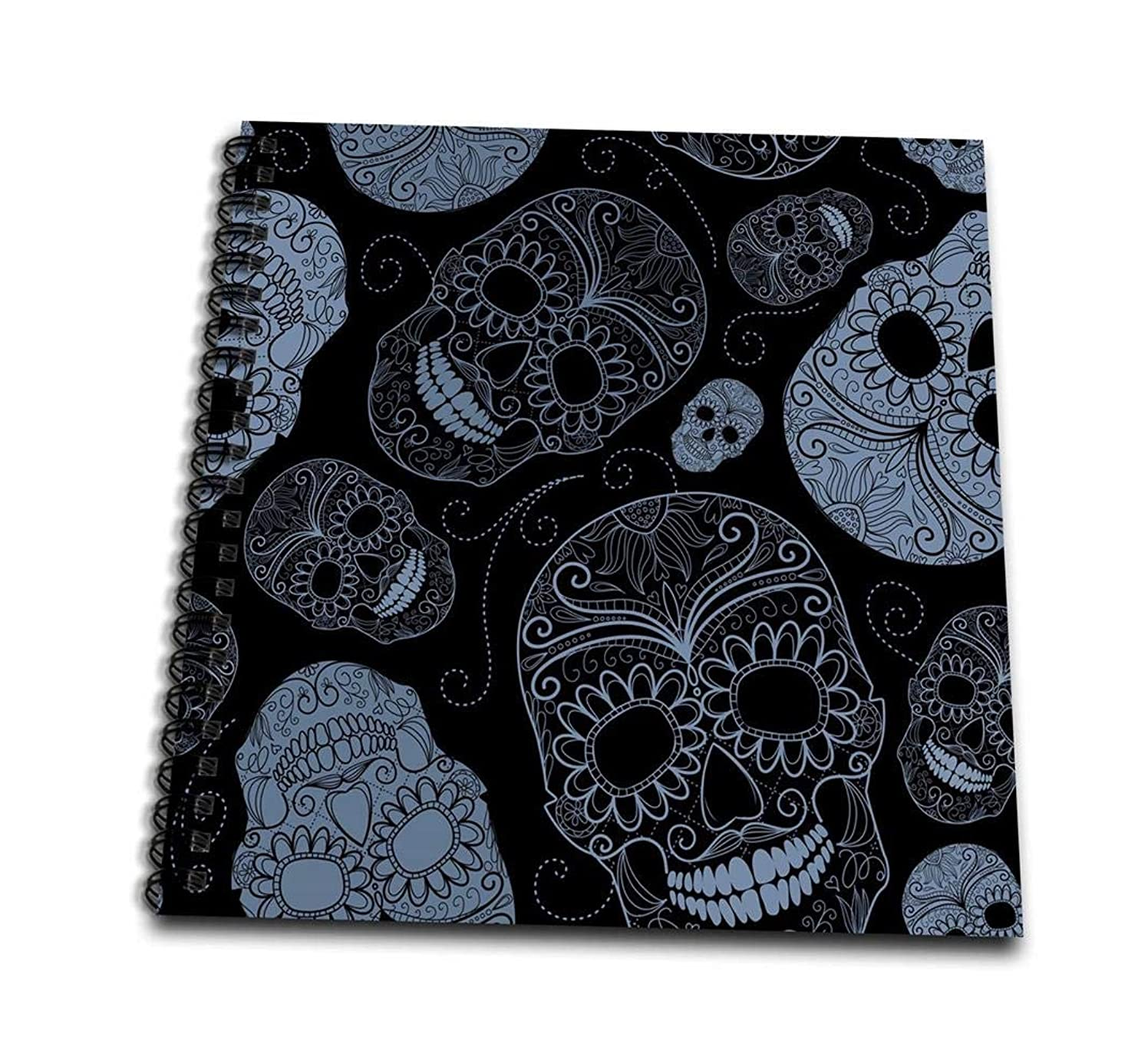 3dRose db_110444_1 Blue Sugar Skulls Day of The Dead Art-Drawing Book, 8 by 8-Inch