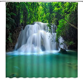 Waterfall Shower Curtain Forest Asian Woodland Tropical Plant Tree Rainforest Lake View Summer Natural Scenery Polyester F...