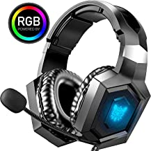 ONIKUMA Gaming Hedase PS4 Games Headset Xbox One Headset with Noise Canceling Mic, Stereo Surround Sound, RGB Light, Soft ...