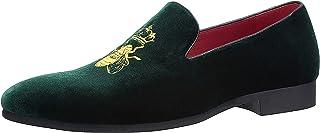 Mocassins Homme Broderie Noble Mocassins Velours Chaussure Vintage Chausson Fantaisie Loafers Slippers Pantoufle Noir/Roug...
