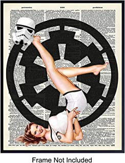 Star Wars Stormtrooper Pinup Dictionary Art Print - Vintage Upcycled Wall Art Poster - Unique Home Decor for Starwars, Stormtrooper Fans - Makes a Great Gift for Men - 8x10 Photo Unframed