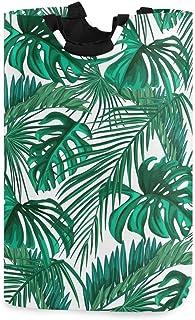 N\A Panier à Linge en Feuilles de Palmier Tropical d'été avec poignées Panier de Rangement Pliable étanche Grand bac à vêt...
