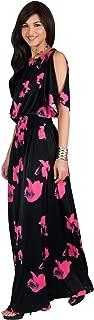 KOH KOH Womens Long Short Sleeve Printed Summer Sexy Casual Sundress Maxi Dress