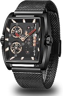 MF MINI FOCUS Mens Watches Sport Waterproof Analog Quartz Watch Men Fashion Skeleton Blue Stainless Steel Mesh Wristwatch
