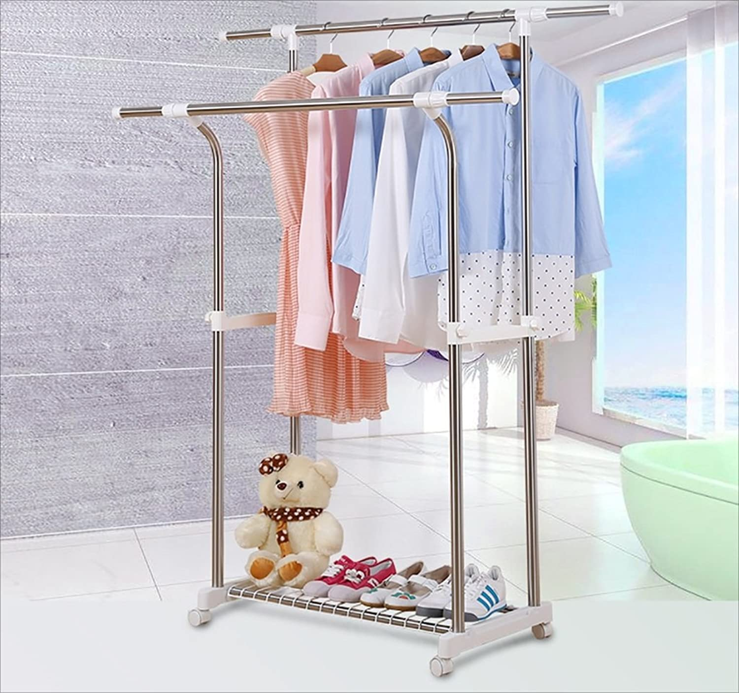 Coat Rack Coat Rack Floor Double Pole Indoor Clothes Rack Stainless Steel Bedroom Simple Mobile Hanging Clothes Hanger (color   A)