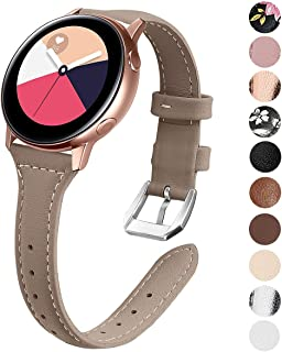 EZCO Leather Bands Compatible with Samsung Galaxy Watch Active/Active 2 / Galaxy Watch 42mm / Gear Sport, 20mm Slim Genuine Leather Watch Strap Replacement Wristband for Galaxy Watch 42mm R810