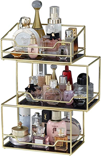 Spacious 3Layer Stackable Glass Perfume Tray 3 Tirer Gold Black Mirror Metal Bathroom Tray For Makeup Jewelry Organizer Ornate Decorative Tray For Vanity Desser Countertop Kitchen