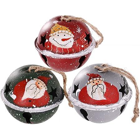6 cm Christmas LXZ 6 PCs Decorative Red-White Round Bells Diameter 2-23//64 Metal Jingle Bells for Party Home