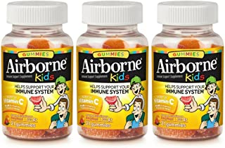 Airborne Kids Assorted Fruit Flavored Gummies, 21 count - 667mg of Vitamin C and Minerals & Herbs Immune Support (Pack of 3)