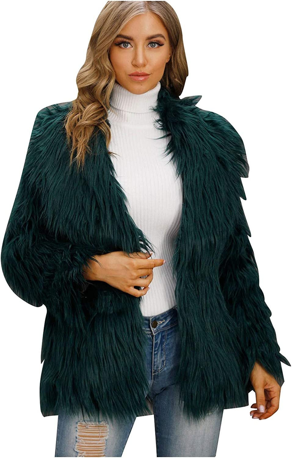 Womens Artificial Wool Jackets Coat Lapel Fluffy C Spring new work Baltimore Mall Outwear Solid