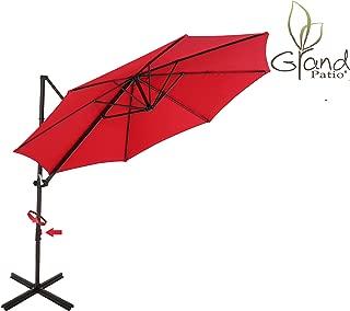 Grand Patio 10 FT Aluminum Offset Umbrella, UV Protected Patio Cantilever Umbrella with Tilt and 360° Rotation, Brick Red