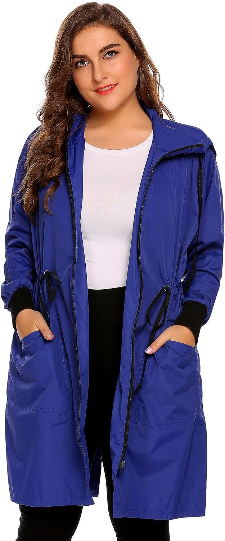 IN'VOLAND Plus Size Women Lightweight Hooded Raincoat Active Outdoor Rain Jacket