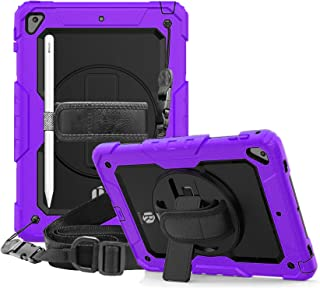 Apple Ipad Mini 4 / Mini 5 Remson Rugged Shockproof Drop Protection with 360 Rotating Kickstand/Shoulder Strap Cover (Purple)