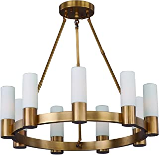 Maxim 22418SWNAB Contessa 9-Light Chandelier, Natural Aged Brass Finish, Satin White Glass, CA Incandescent E12 Incandescent Bulb , 25W Max., Dry Safety Rating, Standard Dimmable, Bubble Glass Shade Material, Rated Lumens