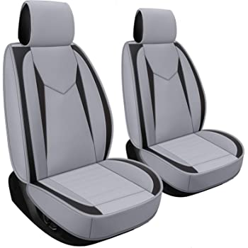 H-2 PCS Black /& Gray LUCKYMAN CLUB 2 Front Universal Automotive Car Seat Covers Fit for Most SUV Sedan with Waterproof Faux Leather