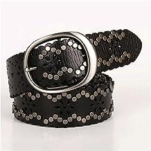 SSMDYLYM Jeans Heavy Metal Rivet Riemen voor vrouwen Lederen Holle Cowkin Belt (Color : Black, Size : 115 CM)