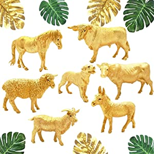 16PCS Metallic Gold Farm Animal Figurines and Palm Leaves Set, Plastic Golden Farm Animals Figures for Baby Shower Decor, Farm Themed Birthday Centerpiece, Party Cake Topper Decoration