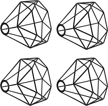 Renquen Lot de 4 abat-jours en métal en forme de cage à oiseaux - Décoration pour luminaires suspendus - Forme géométrique -