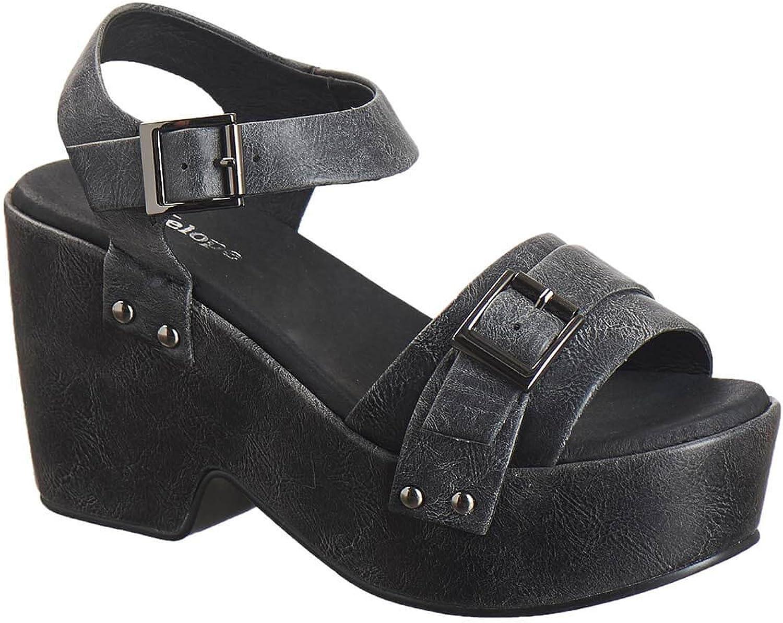 Antelope Women's 925 Metallic Leather Buckle Deco Heel & Wedge Sandals