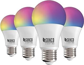 Sunco Lighting 4 Pack WiFi LED لامپ هوشمند ، A19 ، 6W ، تغییر رنگ (RGB)