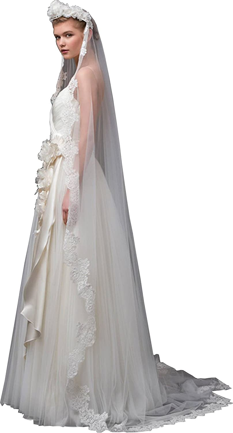 Newdeve White 2M 1T Bridal Veils for Wedding Lace Edge Falls