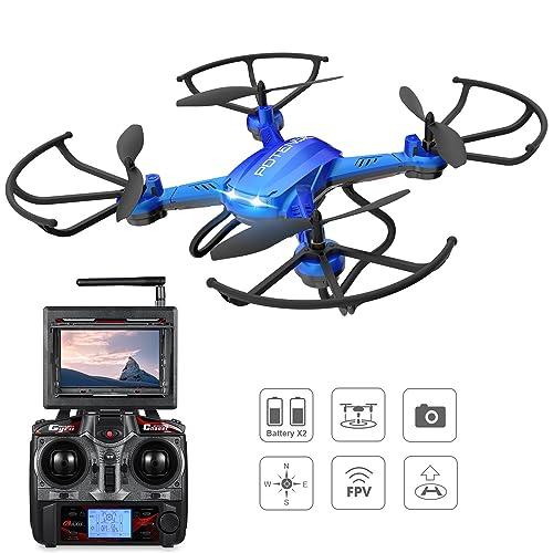Potensic® Fonction Stepless-speed RC drone F181DH 5.8GHz 4CH 6-Axis Gyro RC Quadcopter drone avec 2 mégapixels caméra HD, Fonction Altitude Tenir, 360 degrés Flips, support Photographie aérienne -Bleu (F181)