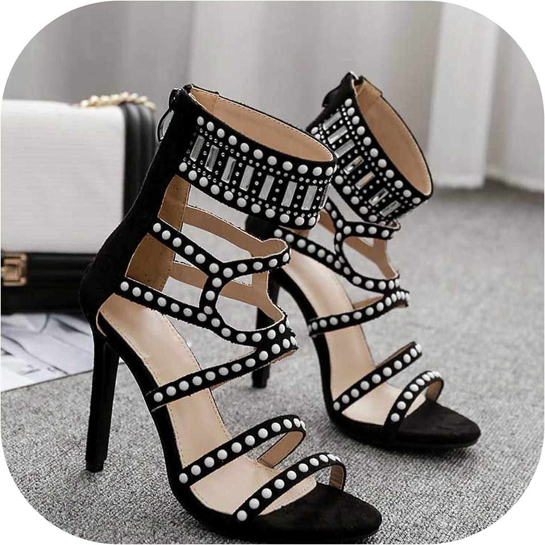 Shine-shine Black High Heels Sandals Women's shoes Cryal White Polka Dot iletto Rome Wedding shoes