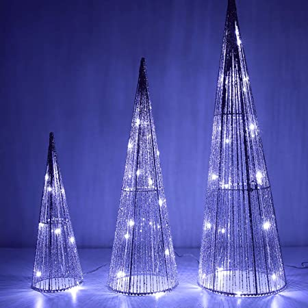 Amazon Com Set Of 3 Lighted Spiral Christmas Trees 3 Ft 4 Ft And 6 Ft Winter Wonder Lane Home Kitchen