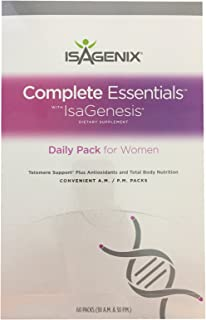 Isagenix® Complete Essentials With IsaGenesis Dietary Supplement Daily Pack for Women (60 Packs, 30 A.M. & 30 P.M.)