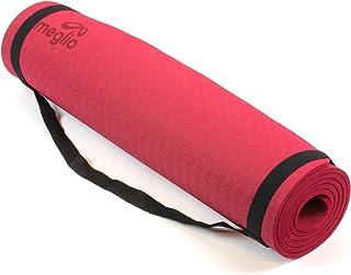 MEGLIO Esterilla de Yoga, Esterilla de Yoga Premium de TPE Antideslizante con un Grosor de 8mm, Esterilla Ecológica para Yoga, Pilates, Ejercicios Fitness, Gimnasia, Estiramiento