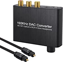 AUTOUTLET 192kHz DAC Converter Digital Audio Decoder Optical/Coaxial/Toslink to RCA L/R + 3.5MM Headphone with Volume Control Knob Support Dolby AC3 /DTS for Amplifier Soundbar HDTV DVD PS3