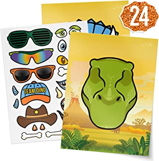 xo, Fetti Dinosaur Party Sticker Craft Game for Kids - 24 Sheets | Birthday Party Supplies, Dino Favors Decorations, Toys + Halloween Costume