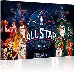 HAOSHUNDA NBA All-Star Game Wall Decor Art Paintings NBA Basketball Fan Memorabilia Gifts NBA All-Star Posters Man Boy Bedroom for Living Room Home Decor Decoration