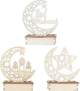FRCOLOR 3PC Ramadan Moubarak Eid Décorations en Bois Lune Étoiles Lumières Ornements de Table pour Eid Mubarak Ramadan La ...