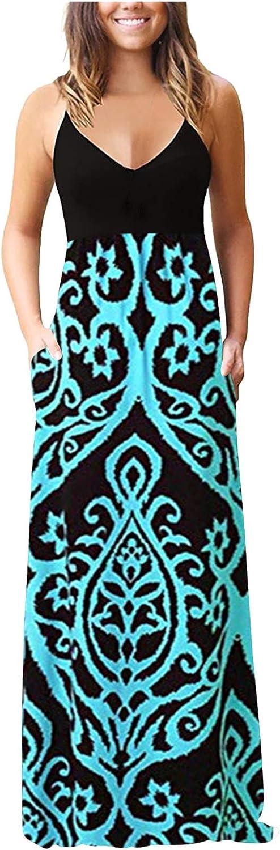 siilsaa Summer Dresses for Women, Womens Print Sleeveless Long Maxi Dress Bohemian Dress Casual Cocktail Party Sundress