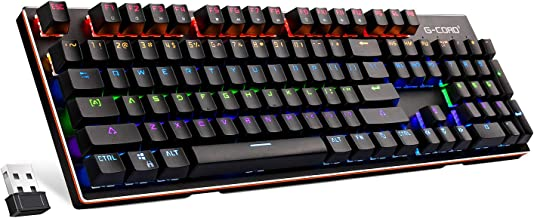 G-Cord Wireless Mechanical Rechargable Keyboard with LED Backlit for Gaming or Office (104 Key)