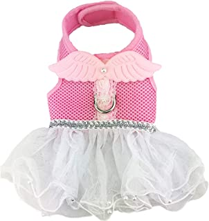 Cute Sweet Pink and White Dog Cat Pet Mesh Vest Harness with Artificial Pearls Short Skirt Tutu Dress and Leash Set for Dogs Cats Puppy Kitten