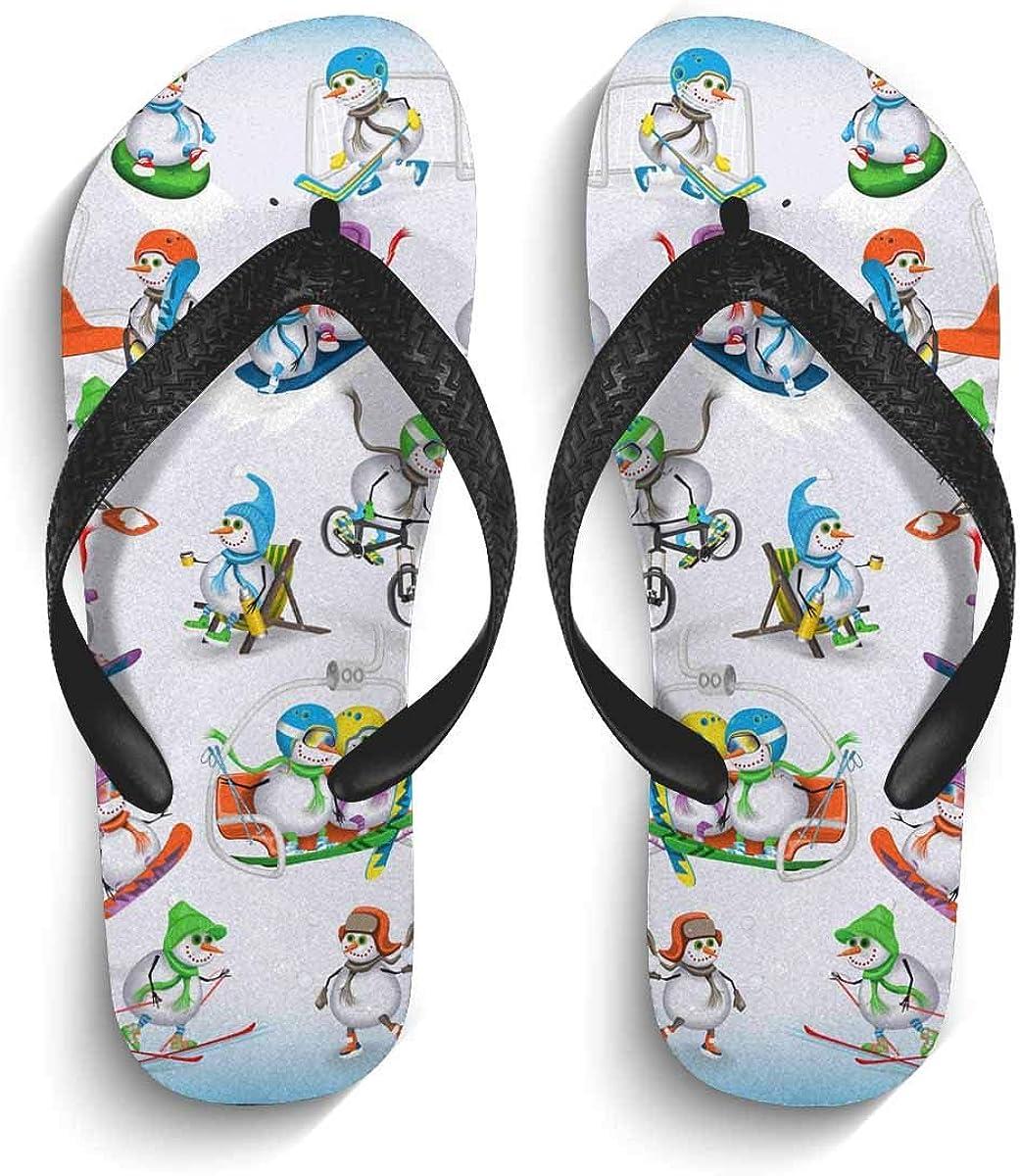 INTERESTPRINT Men's Non-Slip Flip Flop Slippers Snowman Winter Christmas Landscape Beach Thong Sandal