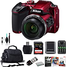 Nikon COOLPIX B500 Digital Point & Shoot Camera (Red) 26508 Bundle with SanDisk 64GB Extreme PRO Memory Card + Corel Mac Editing Software + More