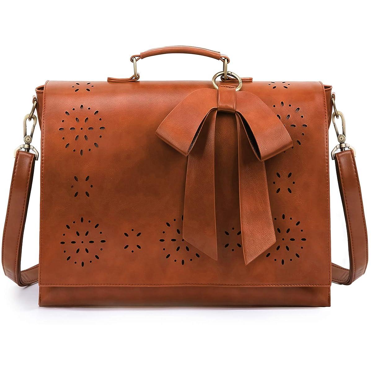 ECOSUSI Women's Briefcase PU Leather 15.6 inch Laptop Bag Shoulder Computer Satchel Bag with Detachable Bow, Light Brown