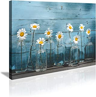 1 Panel Vintage Flower Canvas Wall Art for Home Office bathroom Decoration Modern Floral Canvas Artwork Daisy Flower Vase Picture Giclee Print on Canvas Blue wooden board Art Ready to Hang