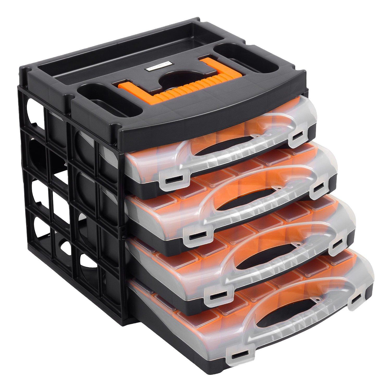 Caja para herramientas con 4 bandejas (56100): Amazon.es: Bricolaje y herramientas