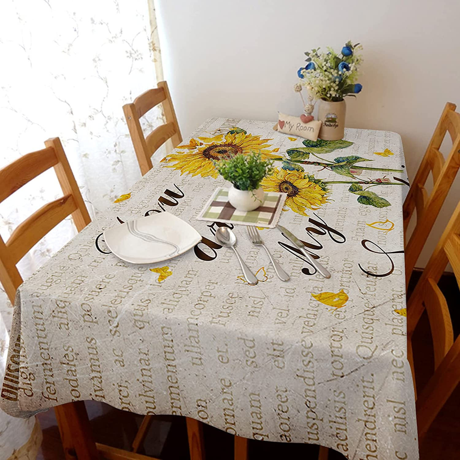 Tablecloth Linen Burlap Weights Fabric You Sunfl Are New sales My Sunshine Inexpensive