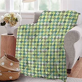 Luoiaax Plaid Comfortable Large Blanket Traditional Argyle Pattern in Pastel Green Tones Checkered Striped Classical Design Microfiber Blanket Bed Sofa or Travel W80 x L60 Inch Multicolor