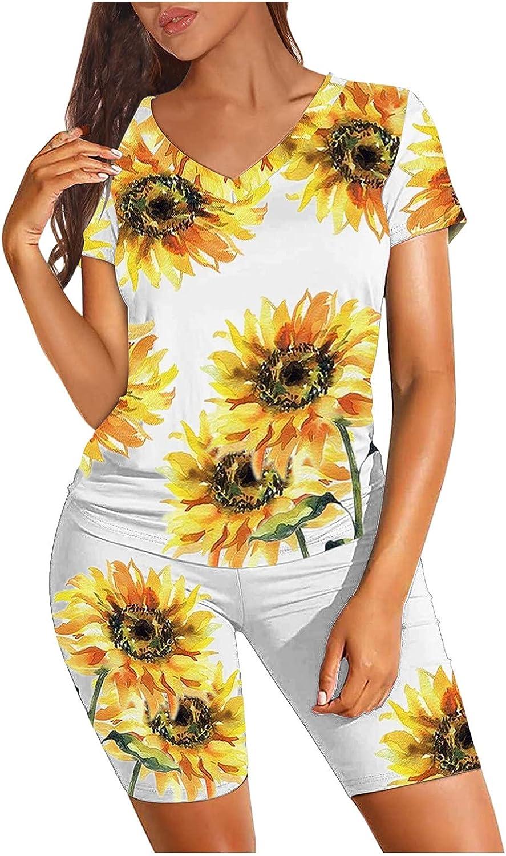 FORUU Women's 2 Piece Outfits,2021 Summer Jogging Suit Gradient Print Short Sleeve V Neck Biker Shorts Set Sweat Suits