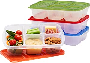 EasyLunchboxes - Bento Lunch Boxes - Reusable 5-Compartment Food Containers for School, Work, and Travel, Set of 4 (Classic)