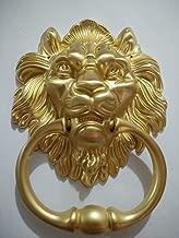 BorizDoorz Lion Door Knocker Lion Head Beautiful Lion Mouth Accessories Gate Antique Gold Brushed Brass