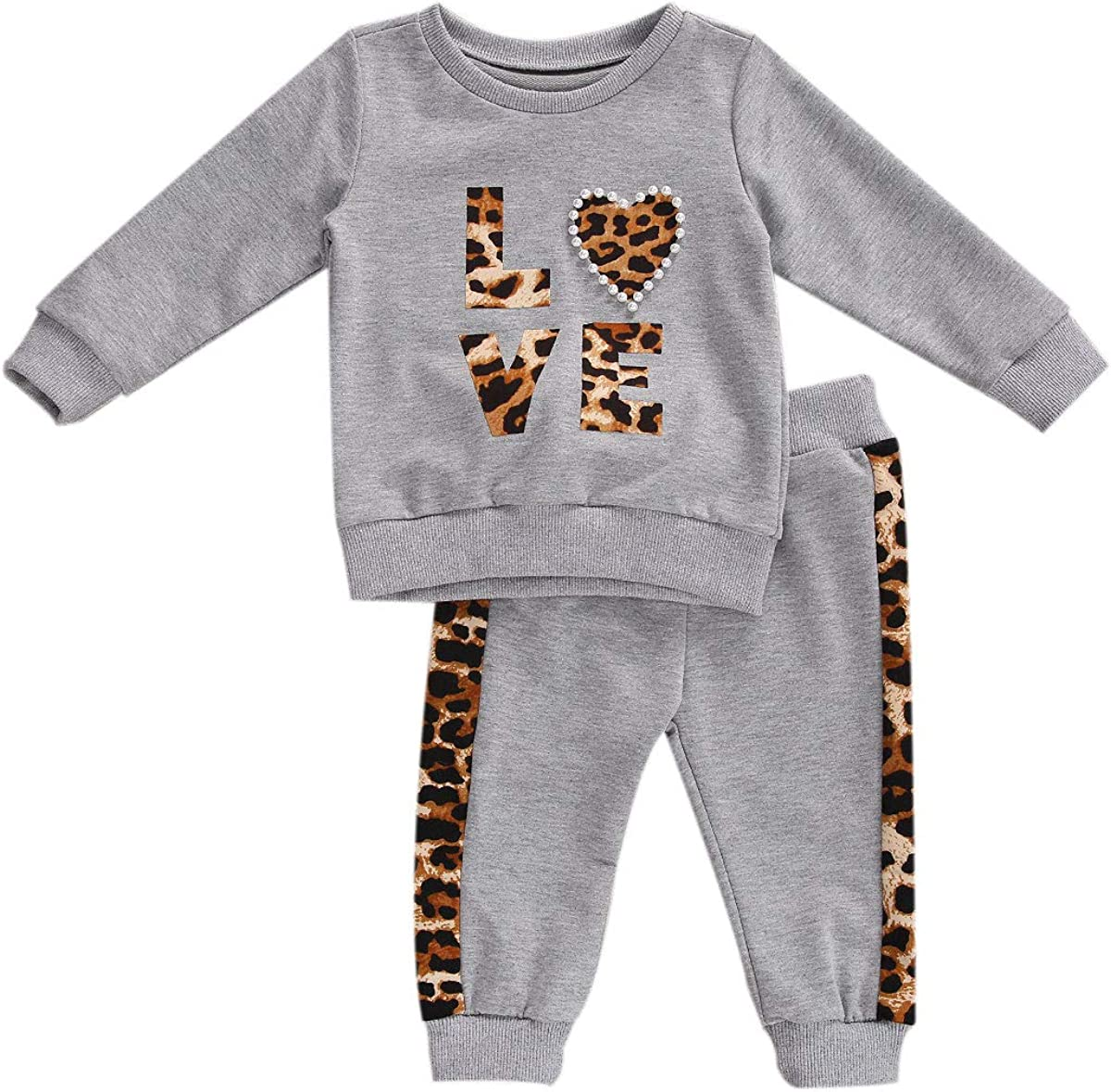 Toddler Baby Girl Outfits Set Leopard Long Sleeve Top Sweatsuit Legging Pants Baby Girl Clothing Set Fall 0-24M 2pcs